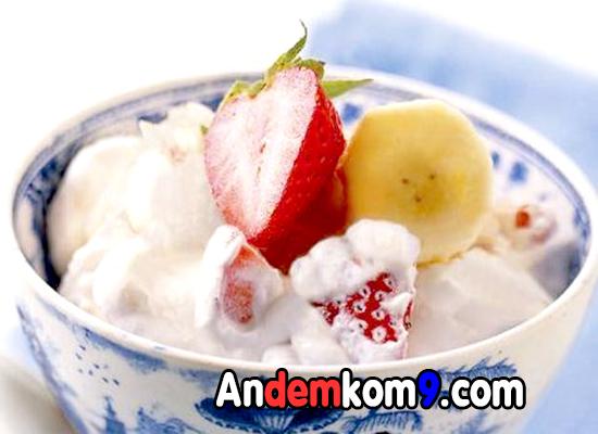 hình ảnh món chè sữa chua hoa quả ngon