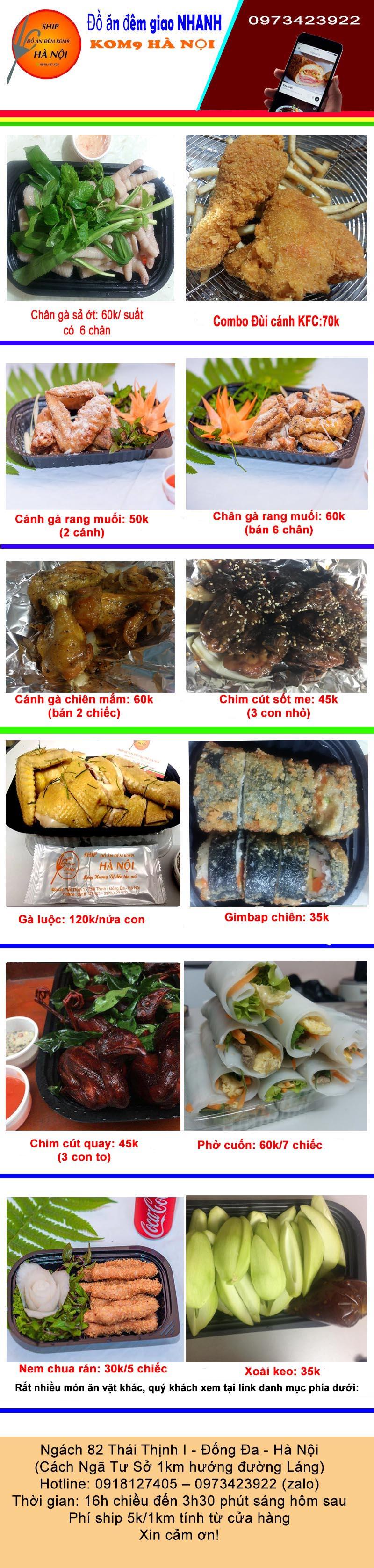 Kom9 chuyên dịch vụ ship đồ ăn vặt đêm Hà Nội với hơn 30 món ăn hấp dẫn