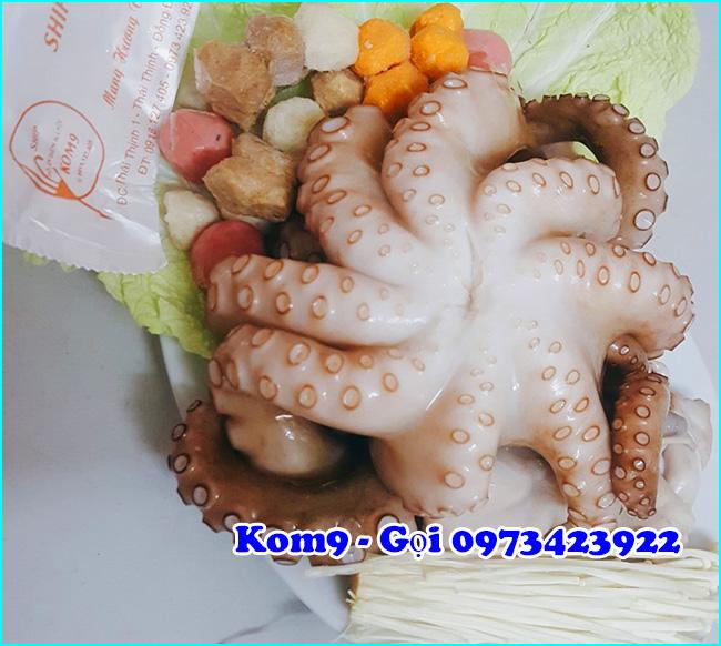 món bạch tuộc hấp sả gừng Kom9