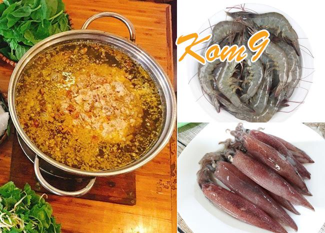 Chuẩn bị nguyên liệu món lẩu riêu cua hải sản